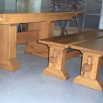 solid wood table bench