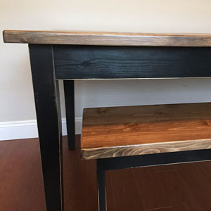 rustic wood kitchen table & bench